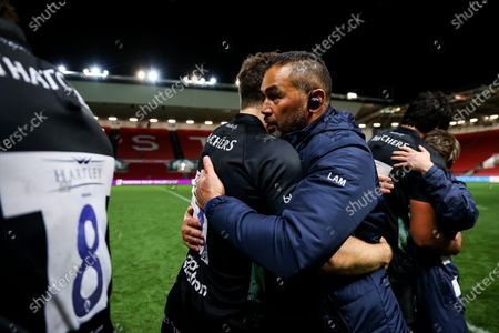 Bristol Bears Director of Rugby Pat Lam hugs Luke Morahan of Bristol Bears as Bristol Bears win 37-20 after extra time to progress to a European Final