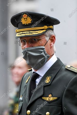 King Philippe attends the ceremony for the presentation of the blue berets to the officer cadets at the Royal Military Academy (ERM). The presentation of the blue beret makes it concrete for the students to successfully complete their military initiation phase (PIM-MIF-MIP). The King presents the blue beret to the students of the platoon which includes Her Royal Highness Princess Elisabeth.