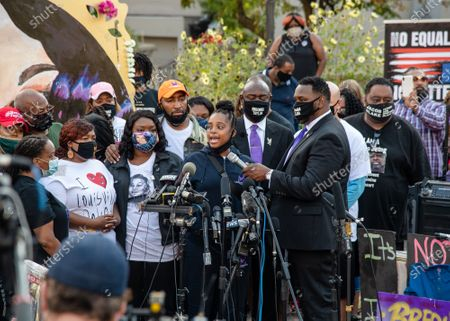 Tamika Mallory of Until Freedom speaks during a press conference in 'Injustice Square' on September 25, 2020 in Louisville,Ky.   Breonna Taylor's family demand that US authorities release grand jury transcripts showing why no police will face direct criminal charges over her death.