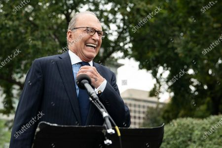 Director of the National Economic Council Larry Kudlow speaks to reporters on the north driveway of the White House in Washington, DC on Friday, September 25, 2020.