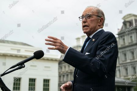Stock Image of Director of the National Economic Council Larry Kudlow speaks to reporters on the north driveway of the White House in Washington, DC, USA, 25 September 2020.