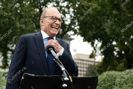 Stock Picture of Director of the National Economic Council Larry Kudlow speaks to reporters on the north driveway of the White House in Washington, DC, USA, 25 September 2020.