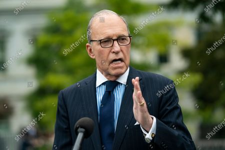 Director of the National Economic Council Larry Kudlow speaks to reporters on the north driveway of the White House in Washington, DC, USA, 25 September 2020.