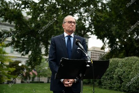 Stock Photo of Director of the National Economic Council Larry Kudlow speaks to reporters on the north driveway of the White House in Washington, DC, USA, 25 September 2020.