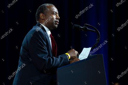 "Secretary of Housing and Urban Development Ben Carson speaks during the ""Black Economic Empowerment: The Platinum Plan"" campaign event at the Cobb Galleria Centre, in Atlanta"