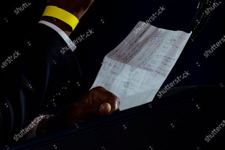 Notes of Housing and Urban Development Secretary Ben Carson are visible as he speaks before President Donald Trump speaks at a campaign event at the Cobb Galleria Centre, in Atlanta