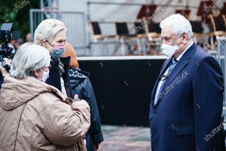 """Mecklenburg-Western Pomerania State Premier Manuela Schwesig (2-L), who was born and raised in Seelow, and her mother mother Karla Frenzel (L) talk to Russian ambassador to Germany Sergey Nechayev (R) prior to a memorial concert on the occasion of the end of WWII, 75 years ago, in Seelow, Brandenburg, Germany, 25 September 2020. On the Seelower Heights (Seelower Hoehen), from 16 to 19 April 1945 one of the bloodiest battles of the Second World War took place The concert in commemoration, had to be canceled in may 2020, due to the coronavirus crisis. The Brandenburgisches Staatsorchester Frankfurt performed the 7th Symphony in C major, op. 60 by Dmitri Shostakovich, the """"Leningrad Symphony""""."""
