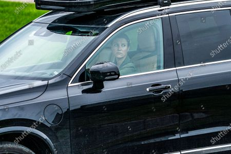 Princess Martha Louise drives fom Rikshospitalet after visiting King Harald who has been admitted and is being examined