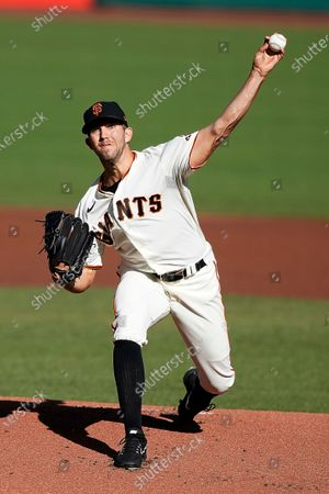 San Francisco Giants starting pitcher Tyler Anderson works against the San Diego Padres during the first inning of the first game of a baseball doubleheader, in San Francisco