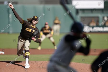 San Diego Padres starting pitcher Chris Paddack works against the San Francisco Giants during the first inning of the first game of a baseball doubleheader, in San Francisco