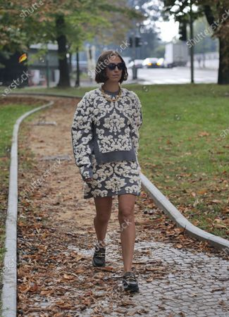 Erika Boldrin street style outfit before Sportmax Fashion Show during Milan Fashion Week Fall/Winter 2020/2021 collections.
