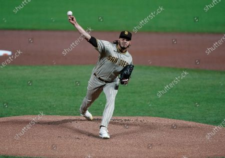 San Diego Padres starting pitcher Dinelson Lamet works against the San Diego Padres during the first inning of the second game of a baseball doubleheader, in San Francisco