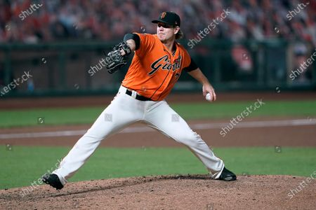 San Francisco Giants relief pitcher Caleb Baragar works against the San Diego Padres during the fourth inning of the second game of a baseball doubleheader, in San Francisco