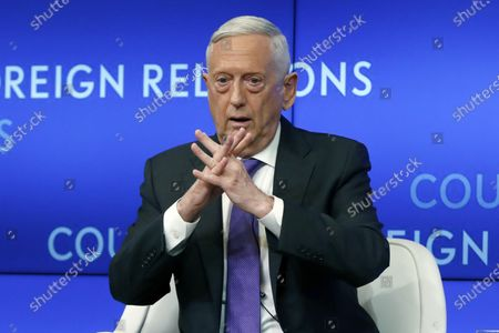 Stock Picture of Former Defense Secretary Jim Mattis speaks at the Council on Foreign Relations, in New York. With just weeks left before the Nov. 3 election, it's decision time for a number of current and former Trump administration officials who are debating whether to speak out against President Donald Trump