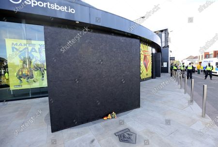 Graham Taylor statue boarded up ahead of the Watford v Luton football match