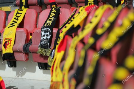 A graphic of Graham Taylor seen on Watford scarves