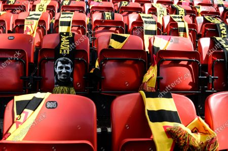 Empty seating due to pandemic with a picture of Graham Taylor on one seat; Vicarage Road, Watford, Hertfordshire, England; English Football League Championship Football, Watford versus Luton Town.