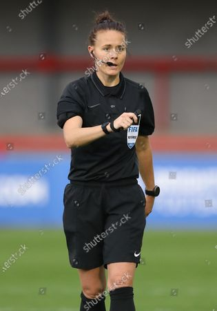 Stock Picture of Referee Rebecca Walsh during the Vitality Women's FA Cup quarter-final match between Brighton & Hove Albion Women and Birmingham City Women at the People's Pension Stadium in Crawley . 27 September 2020
