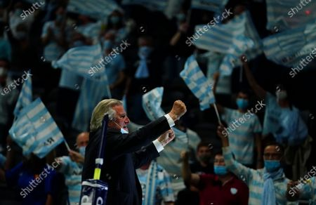 Stock Photo of Racing 92 President Jacky Lorenzetti heads to the fans to celebrate victory