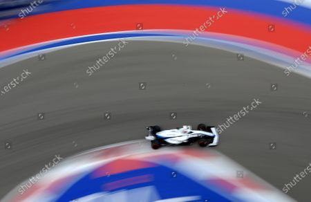 Williams driver George Russell of Britain steers his car during the qualifying session for the upcoming Russian Formula One Grand Prix, at the Sochi Autodrom circuit, in Sochi, Russia, . The Russian Formula One Grand Prix will take place on Sunday