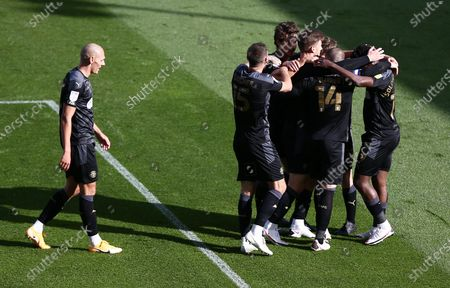 Lee Evans of Wigan Athletic celebrates scoring the opening goal.