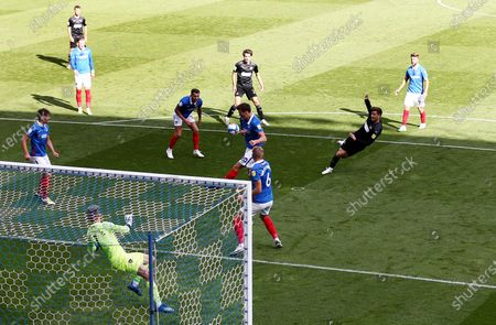 Stock Image of Lee Evans of Wigan Athletic scores the opening goal.a