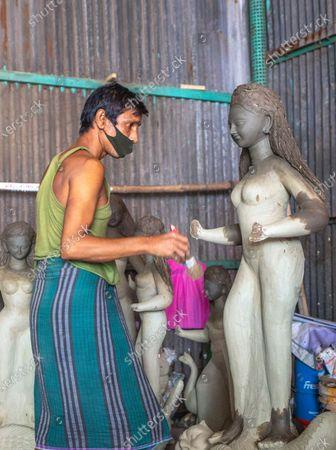 Editorial image of Durga Puja festival preparations in Bangladesh, Dhaka - 26 Sep 2020