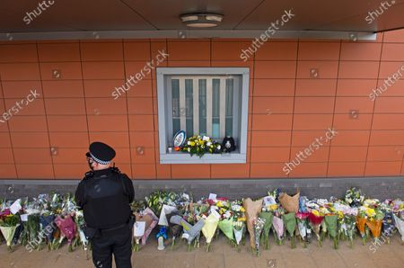Flower memorial for Sgt Matt Ratana at Croydon Custody Centre this morning. A murder investigation has been launched by police after the death of custody police sergeant Matt Ratana at the Croydon Custody Centre in South London yesterday.Photo credit:Grant Falvey/LNP