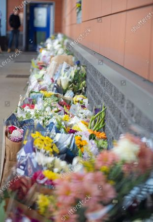 Flower memorial for Sgt Matt Ratana at Croydon Custody Centre. A murder investigation has been launched by police after the death of custody police sergeant Matt Ratana at the Croydon Custody Centre in South London yesterday.Photo credit:Grant Falvey/LNP