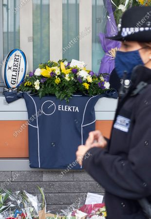 A rugby shirt memorial for Sgt Matt Ratana at Croydon Custody Centre. A murder investigation has been launched by police after the death of custody police sergeant Matt Ratana at the Croydon Custody Centre in South London yesterday.Photo credit:Grant Falvey/LNP