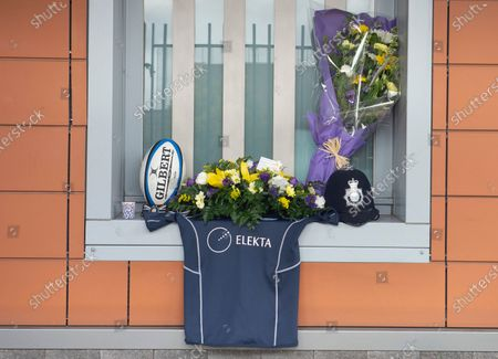 Stock Picture of A rugby shirt memorial for Sgt Matt Ratana at Croydon Custody Centre. A murder investigation has been launched by police after the death of custody police sergeant Matt Ratana at the Croydon Custody Centre in South London yesterday.Photo credit:Grant Falvey/LNP
