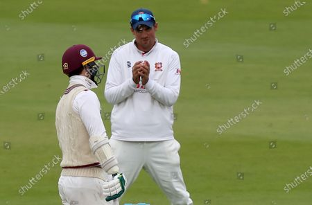 Sir Alastair Cook smiles at Eddie Byron who swung and missed during Somerset CCC vs Essex CCC, Bob Willis Trophy Final Cricket at Lord's Cricket Ground on 26th September 2020