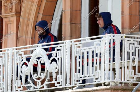 Stock Image of Nick Browne smiles on the Essex balcony during Somerset CCC vs Essex CCC, Bob Willis Trophy Final Cricket at Lord's Cricket Ground on 26th September 2020