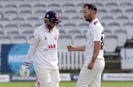 Lewis Gregory looks at Jamie Porter having taken his wicket during Somerset CCC vs Essex CCC, Bob Willis Trophy Final Cricket at Lord's Cricket Ground on 26th September 2020