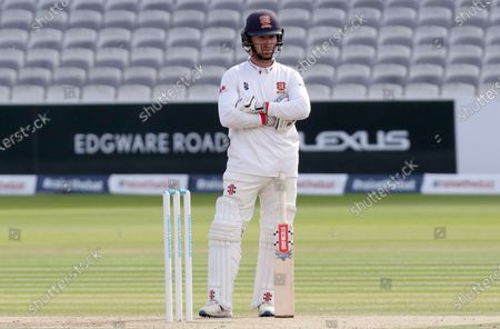 Adam Wheater of Essex waits for his next batting partner during Somerset CCC vs Essex CCC, Bob Willis Trophy Final Cricket at Lord's Cricket Ground on 26th September 2020