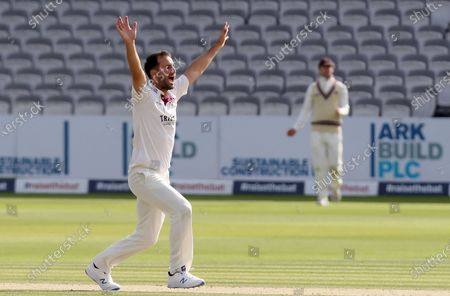 Lewis Gregory of Somerset appeals for the wicket of Simon Harmer during Somerset CCC vs Essex CCC, Bob Willis Trophy Final Cricket at Lord's Cricket Ground on 26th September 2020