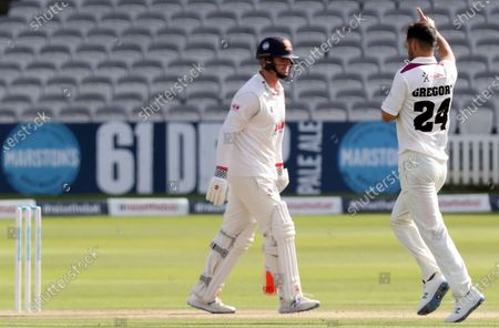 Lewis Gregory of Somerset celebrates taking the wicket of Simon Harmer during Somerset CCC vs Essex CCC, Bob Willis Trophy Final Cricket at Lord's Cricket Ground on 26th September 2020