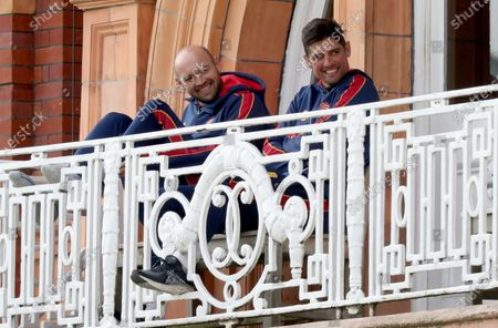 Nick Browne and Sir Alastair Cook of Essex enjoy a chat on the players balcony during Somerset CCC vs Essex CCC, Bob Willis Trophy Final Cricket at Lord's Cricket Ground on 26th September 2020