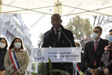 Jacques Bredent, head of Guadeloupe Air Memorial, delivers his speech during the inauguration of a park honoring a woman who fought for the liberation of slaves on the Caribbean island of Guadeloupe, named Solitude, Saturday Sept.26, 2020. Paris Mayor Anne Hidalgo plans to erect a statue to Solitude at the site, the city's first statue honoring a Black woman. Amid global protests against monuments to white men linked to colonialism or the slave trade, French leaders have pushed instead to erect new monuments to more diverse, lesser-known historical figures