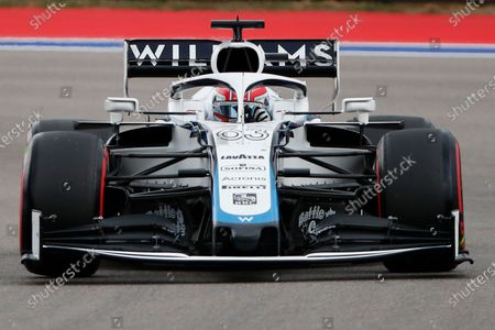 Williams driver George Russell of Britain steers his car during the qualification for the upcoming Russian Formula One Grand Prix, at the Sochi Autodrom circuit, in Sochi, Russia, . The Russian Formula One Grand Prix will take place on Sunday
