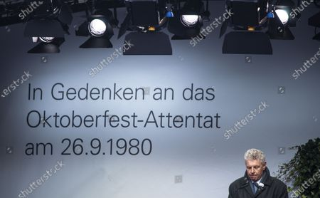 Munich's mayor Dieter Reiter speaks during a commemoration ceremony at the site of the 40th anniversary of the Oktoberfest bomb attack in Munich, Bavaria, Germany, 26 September 2020. A neo-Nazi blew himself up at Munich's Oktoberfest beer festival in 1980, killing 12 other people.