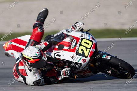 Stock Picture of Spanish Moto3 rider Jose Julian Garcia of the  SCI58 Squedra Corse falls during the third free training session of the Motorcycling Grand Prix of Catalonia at Montmelo race track, near Barcelona, Spain, 26 September 2020. The Motorcycling Grand Prix of Catalonia will take place on 27 September 2020.