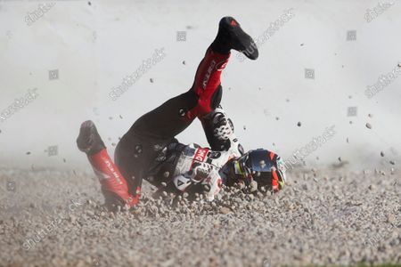 Spanish Moto3 rider Jose Julian Garcia of the  SCI58 Squedra Corse team falls during the third free training session of the Motorcycling Grand Prix of Catalonia at Montmelo race track, near Barcelona, Spain, 26 September 2020. The Motorcycling Grand Prix of Catalonia will take place on 27 September 2020.