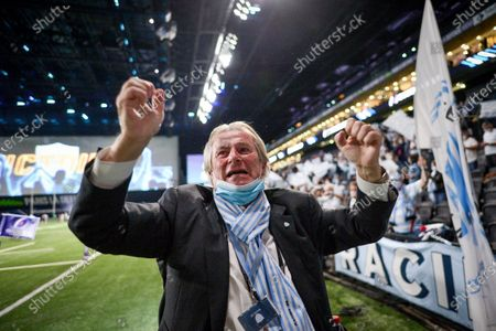 Racing 92 vs Saracens. Racing's President Jacky Lorenzetti celebrates after the game