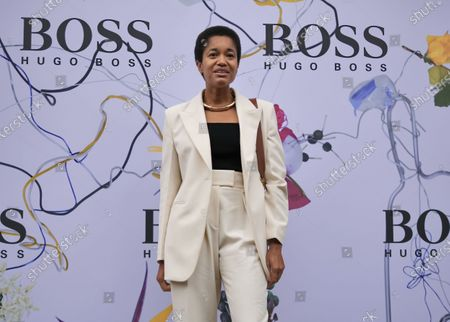 Tamu McPherson special guest at Hugo Boss fashion show during Milan Fashion Week Fall/Winter 2020/2021 collections.