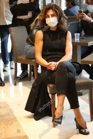 Agnese Landini, wife of Matteo Renzi in Naples for a press conference with Ettore Rosato.
