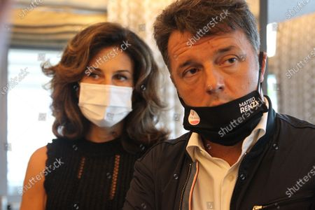 Stock Picture of Agnese Landini, wife of Matteo Renzi, senator in Naples for a press conference with Ettore Rosato