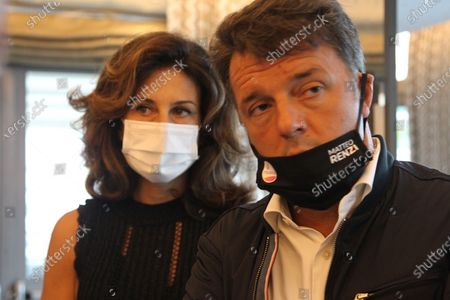Stock Photo of Agnese Landini, wife of Matteo Renzi, senator in Naples for a press conference with Ettore Rosato