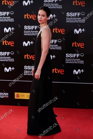 Katherine Waterson poses for photographers at her arrival to the closing ceremony of the 68th annual San Sebastian International Film Festival (SSIFF), in San Sebastian, Spain, 26 September 2020. The film festival runs from 18 to 26 September 2020 under safety measures like obligatory face mask use and red carpets without public due to the Covid-19 coronavirus pandemic. Organizers have also reduced the number of film screenings as well as the seating capacity in cinemas.