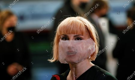 Najwa Nimri poses for photographers at her arrival to the closing ceremony of the 68th annual San Sebastian International Film Festival (SSIFF), in San Sebastian, Spain, 26 September 2020. The film festival runs from 18 to 26 September 2020 under safety measures like obligatory face mask use and red carpets without public due to the Covid-19 coronavirus pandemic. Organizers have also reduced the number of film screenings as well as the seating capacity in cinemas.